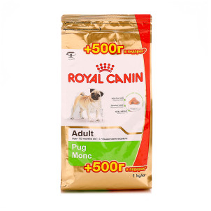 Акция! Корм для собак породы Мопс Royal Canin Pug Adult 500+500 г